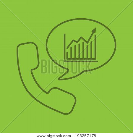 Phone call to stockbroker color linear icon. Handset with income growth chart inside speech bubble. Thin line outline symbols on color background. Vector illustration