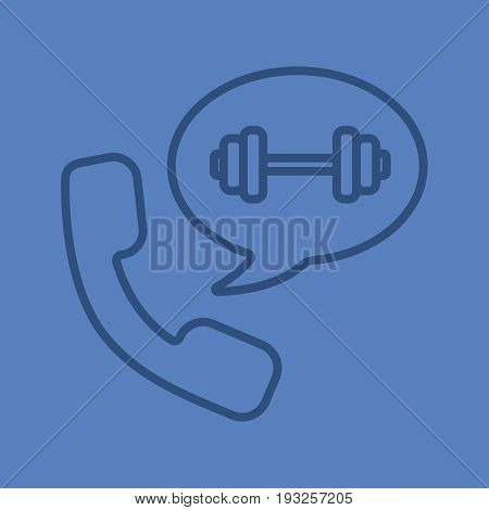 Phone call to gym color linear icon. Handset with barbell inside chat bubble. Thin line outline symbols on color background. Vector illustration