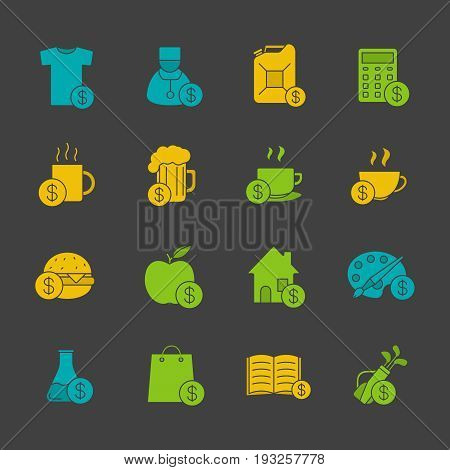 Commercial items glyph color icon set. Buy food, petrol, books, research, real estate, clothes, art and sport goods. Silhouette symbols on black backgrounds. Negative space. Vector illustrations