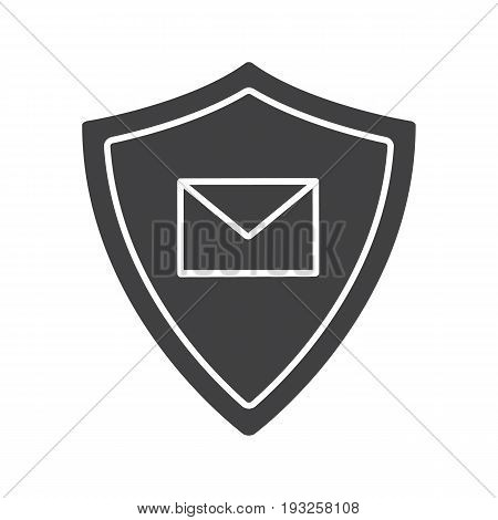 Email security glyph icon. Silhouette symbol. Sms message inside protection shield. Spam protection. Negative space. Vector isolated illustration