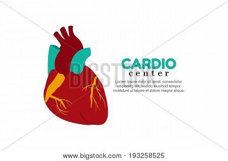 Template logo for human heart. Cardiology center.