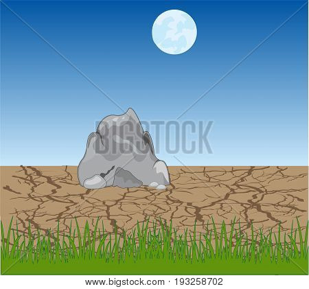 Landscape to lifeless desert and moon on sky