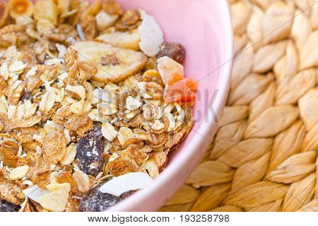 Muesli In The Spoon, Healthy Food Concept.