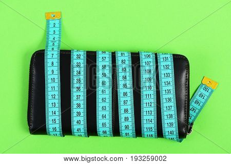 Tape For Measuring In Cyan Color And Black Leather Case