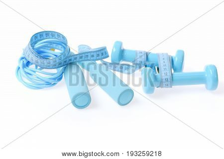 Cyan Composition With Lightweight Plastic Dumbbells, Skipping Rope And Tape