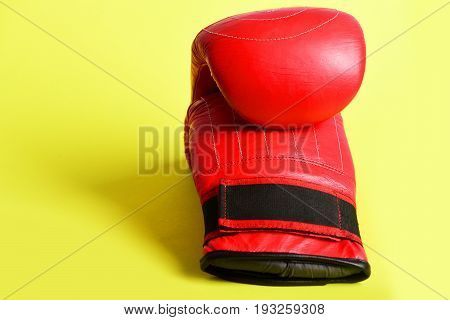 Martial Sports Equipment Concept With Striking Red Boxing Mittens