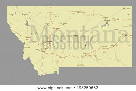 Montana accurate vector exact detailed State Map with Community Assistance and Activates Icons Original pastel Illustration. United States of America