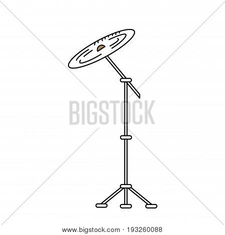 line cymbal musical instrument to play music vector illustration