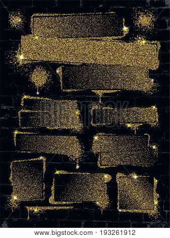Various glitter spray paint graffiti on brick wall. Frame with golden sparkles confetti or like glitter gel paint. Shine spray grunge background.