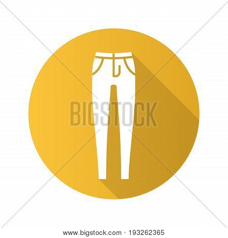 Women's skinny jeans. Flat design long shadow glyph icon. Trousers. Vector silhouette illustration