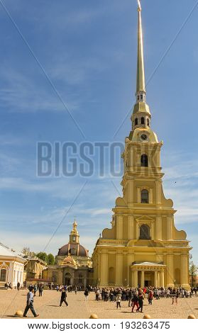 St. Petersburg Russia - 28 May, Turn to the Peter and Paul Cathedral, 28 May, 2017. Famous sightseeing places of St. Petersburg for tourists.