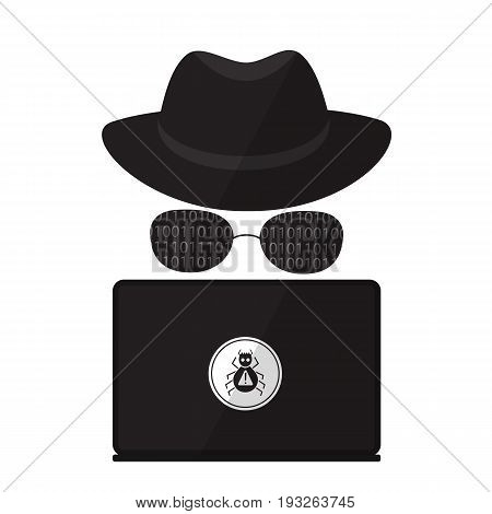 A computer hacker in sunglasses in a hat with a laptop. Virus Attack.