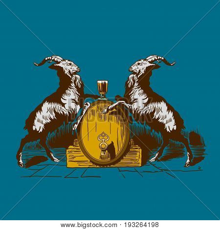 Goats Beer Logo Poster with two identic animals and one big barrel vector illustration