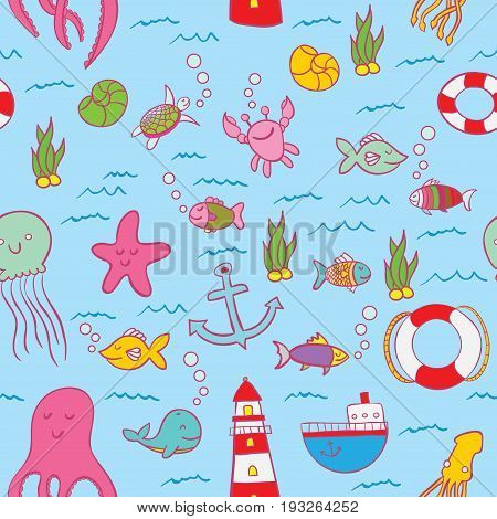 Maritime Seamless Design Pattern with sea objects such as fish and stars everywhere vector illustration