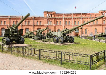 St. Petersburg Russia - 28 May, Long-range artillery systems, 28 May, 2017. Military History Museum of combat equipment in St. Petersburg.