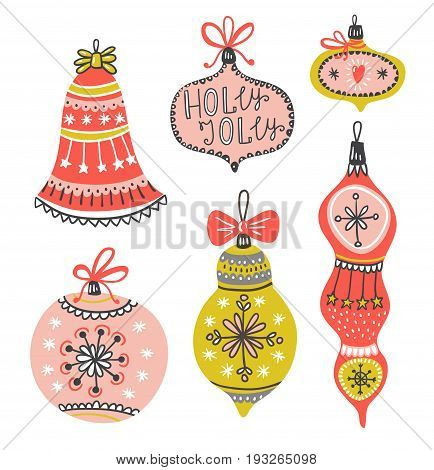 New Year's vector illustration with x-mas balls isolated on white background. Perfect for winter invitations Christmas greeting cards decorations.