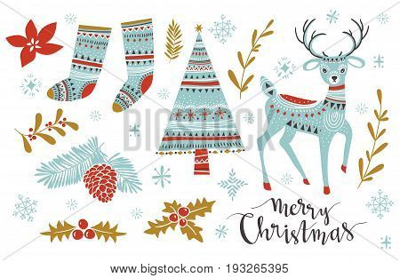 Christmas Set. Template for Greeting Scrap booking Congratulations Invitations. Vector illistration with isolated christmas elements.