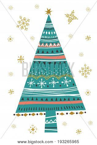 Christmas fir tree. Template for Greeting Scrap booking Congratulations Invitations greeting card. Vector illustration with isolated christmas poster.