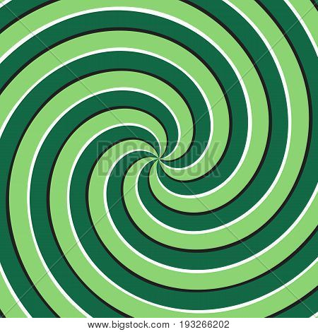 Optical motion illusion background. Green multiple spiral surface.