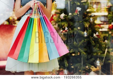 Pretty Girl's Hands With Shopping Bags