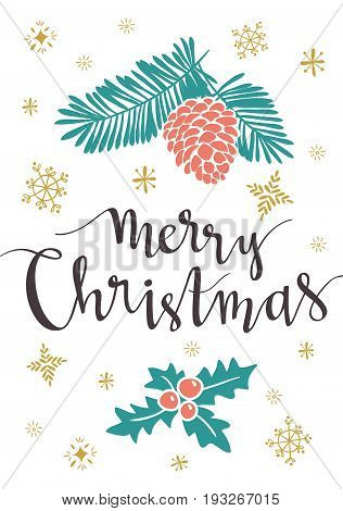 Christmas lettering. Template for Greeting Scrap booking Congratulations Invitations greeting card. Vector illustration with isolated christmas poster.