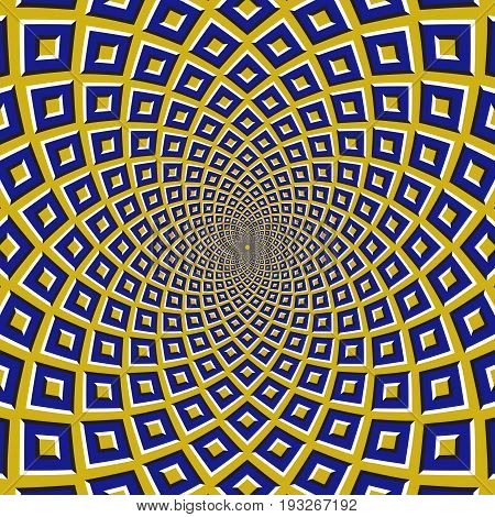 Optical motion illusion background. Blue squares fly apart circularly from the center on yellow background.
