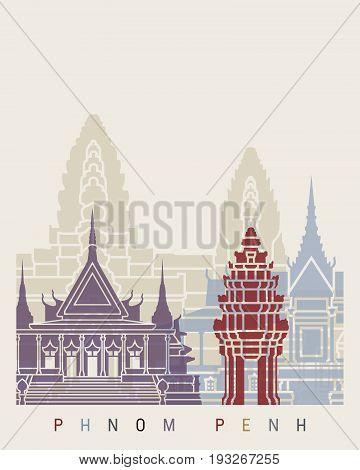 Phnom Penh skyline poster in editable vector file