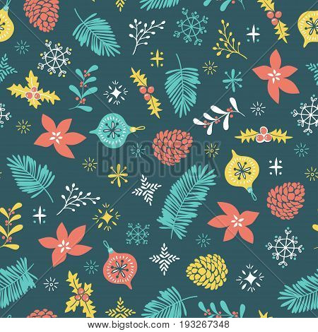 Christmas seamless pattern. Template for Greeting Scrap booking Congratulations Invitations and wrap paper. Vector illustration with christmas elements on the dark background.