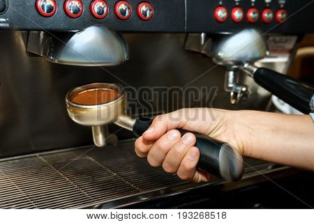 Barista Make Fresh Coffee In Restaurant For Business People