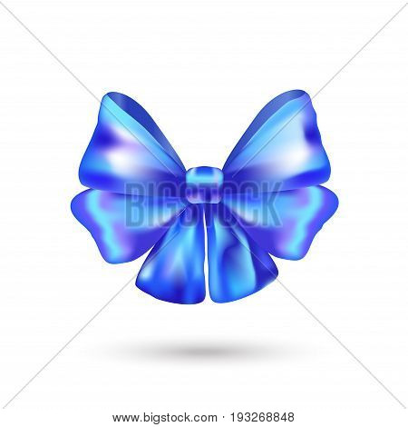 Decorative blue bow ribbon. Vector bow icon for page, gift card, gift box decor isolated on white. Realistic Shiny blue satin ribbon banner. Hair bow 3D symbol. For Holiday, birthday, Christmas, Father's Day, American Patriotic day celebration. Bow sign T