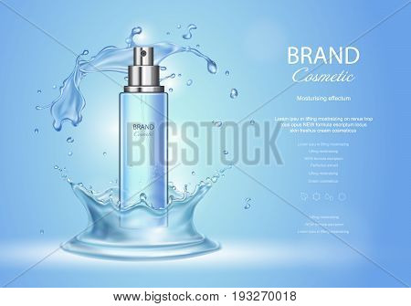 Ice toner ads with blue water splash. Spray bottle and fresh sparkling drops, realistic 3d vector illustration, cosmetics product