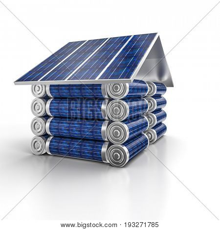house solar energy concept 3d rendering image