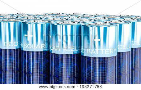 solar energy aa battery 3d rendering image