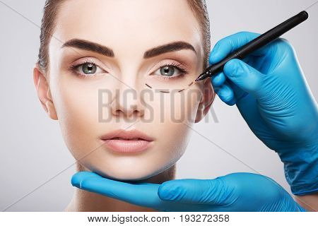 Beautiful Girl With Perforation Lines On Her Face