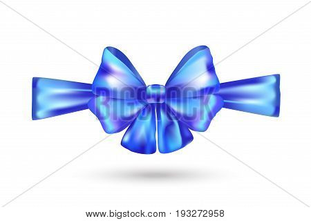 3d realistic decorative tied bow knot, satin ribbon isolated on white. Blue Bow tie for Holiday, birthday, Christmas, patriotic day celebration. Blue satin ribbon bow, icon, accessories Vector