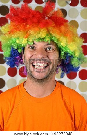 happy crazy clown in a party