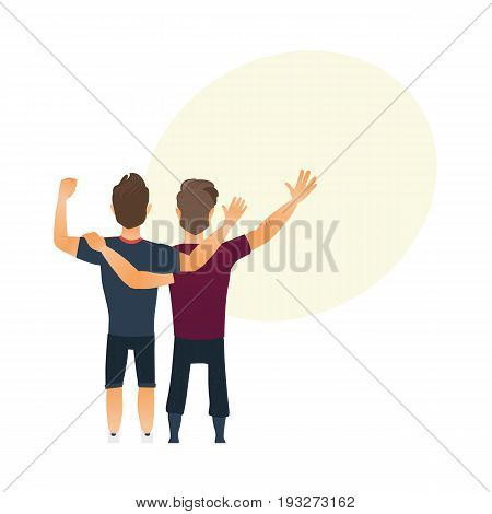 Male friendship - two boys, men, friends hugging each others, waving, cartoon vector illustration with space for text. Back view portrait of boys, men, friends standing, hugging each other
