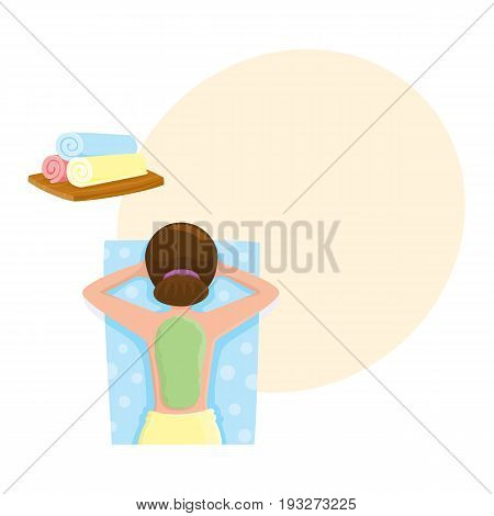 Young woman getting algae mask, mud treatment in spa salon, top view cartoon vector illustration with space for text. Top view picture of woman getting mud, algae mask on her back in spa salon