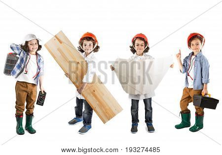 Collage. Young curly electrician engineer foreman work standing looking at the camera. White background.