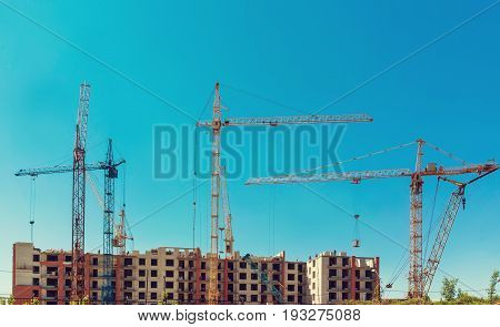 build a house, building site, construction of houses, construction cranes, construction material, city, day roofing