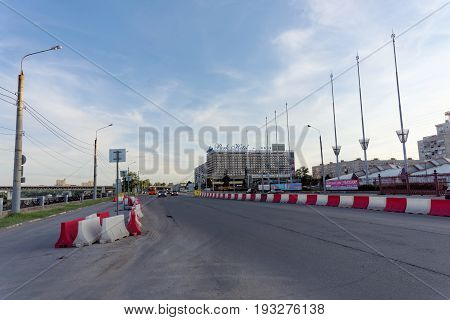 Nizhny Novgorod Russia. - June 14.2016. View of Lenin Square and temporary fences on the roadway and Park Hotel