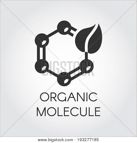 Black icon in flat style symbolizing organic molecular bonding. Biotech natural technology concept. Vector logo for your design needs