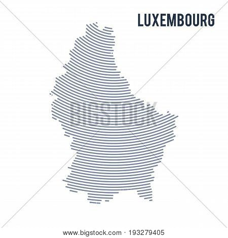 Vector Abstract Hatched Map Of Luxembourg With Curve Lines Isolated On A White Background.