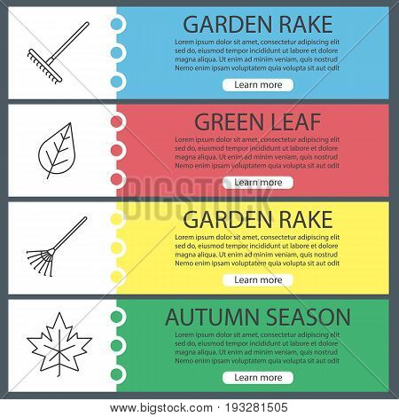 Autumn season web banner templates set. Rake, leaves. Website color menu items with linear icons. Vector headers design concepts