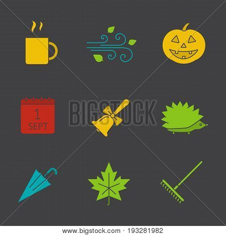 Autumn season glyph color icon set. Hot drink mug, pumpkin, wind blowing, school bell, hedgehog, umbrella, maple leaf. Silhouette symbols on black backgrounds. Negative space. Vector illustrations