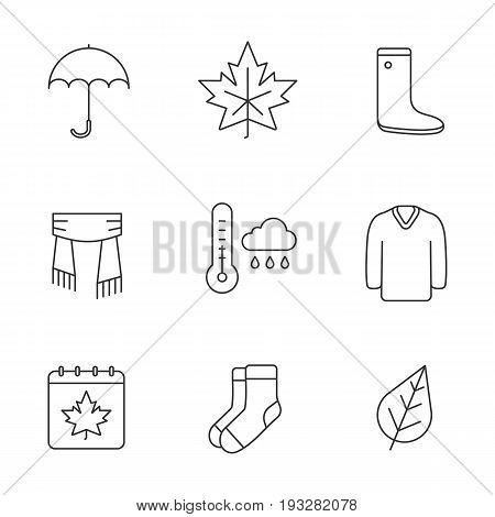 Autumn season linear icons set. Umbrella, warm socks, maple leaf, watertight, scarf, sweater, autumn weather and calendar. Thin line contour symbols. Isolated vector outline illustrations