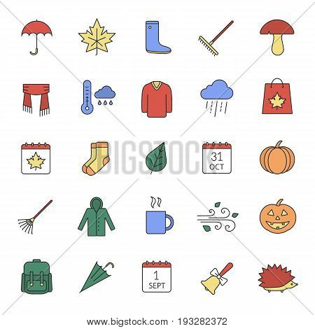 Autumn season color icons set. September 1 and October 31. Warm clothes, autumn sale, leaves, umbrella, calendar, rake, sale, rainy weather. Isolated vector illustrations
