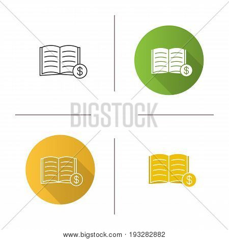 Buy book icon. Flat design, linear and glyph color styles. Bookstore. Textbook with dollar sign. Isolated vector illustrations