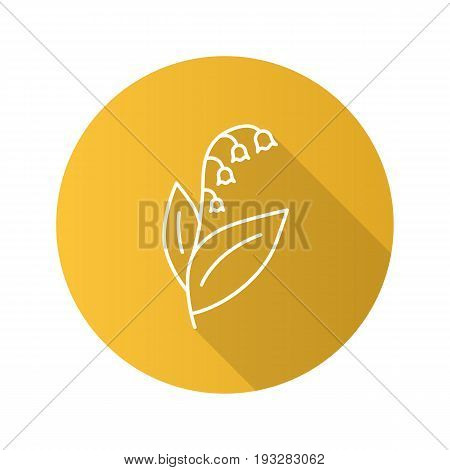 May lily flat linear long shadow icon. Lily of the valley. Vector outline symbol