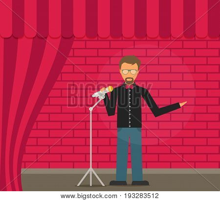 Comedian Doing Stand Up. Flat vector illustration
